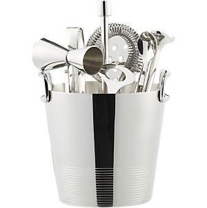 Cocktail Ice bucket and cocktail tools, Crate and Barrel